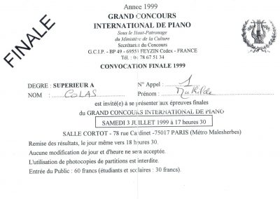 Convovation Finale Gd concours International de Piano