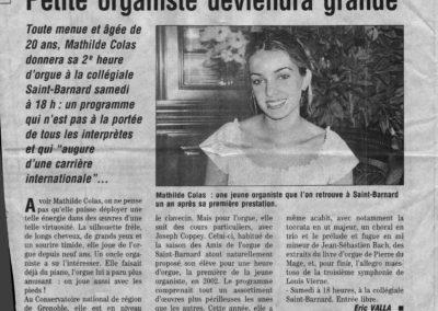 Dauphine Libere 2003 - Petite Organiste deviendra grande